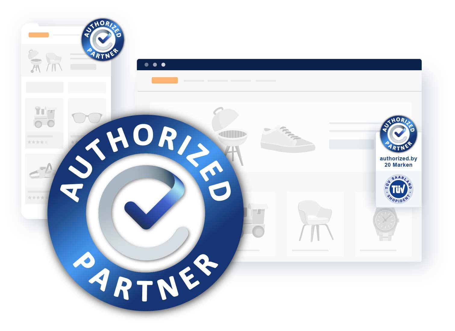Online-Shops erhalten über die authorized.by®-Plattform die Auszeichnung als autorisierter Markenpartner.